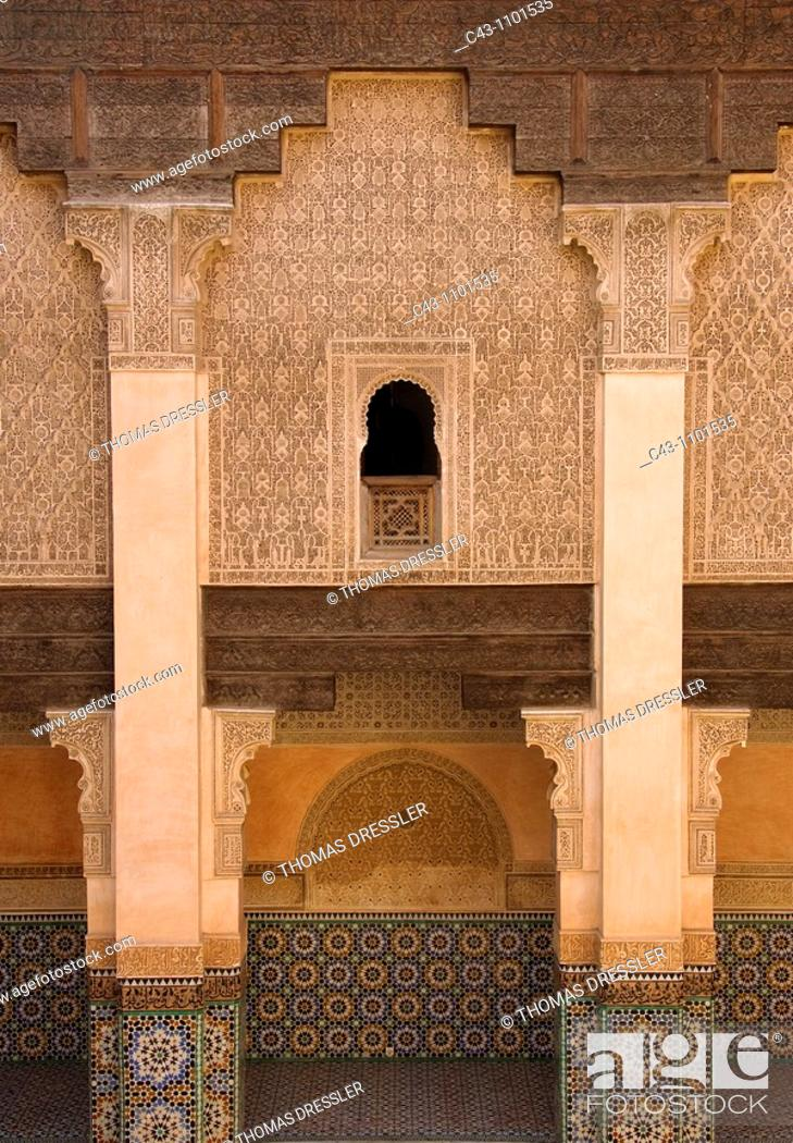 Stock Photo: Morocco - Columned arcades in the central courtyard of the Ben Youssef Medersa teaching annexe to the old mosque universities.