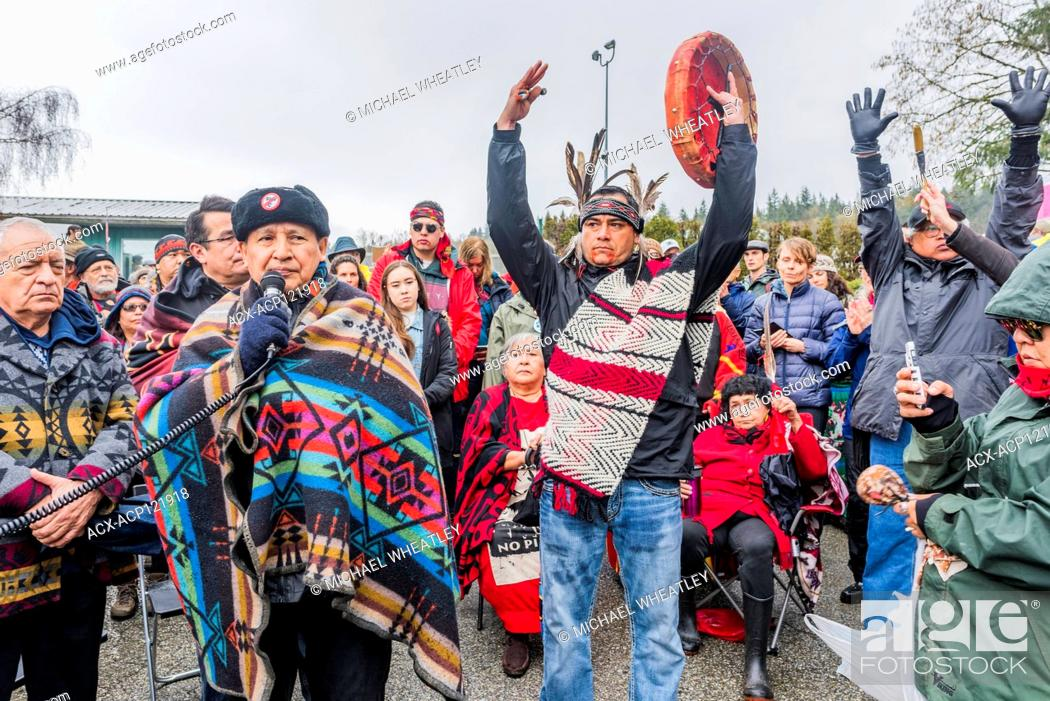 Stock Photo: Large group of Indigenous leaders led by Grand Chief Stewart Phillip risk arrest at Blockade of Kinder Morgan Pipeline entrance, Burnaby Mountain, Burnaby.