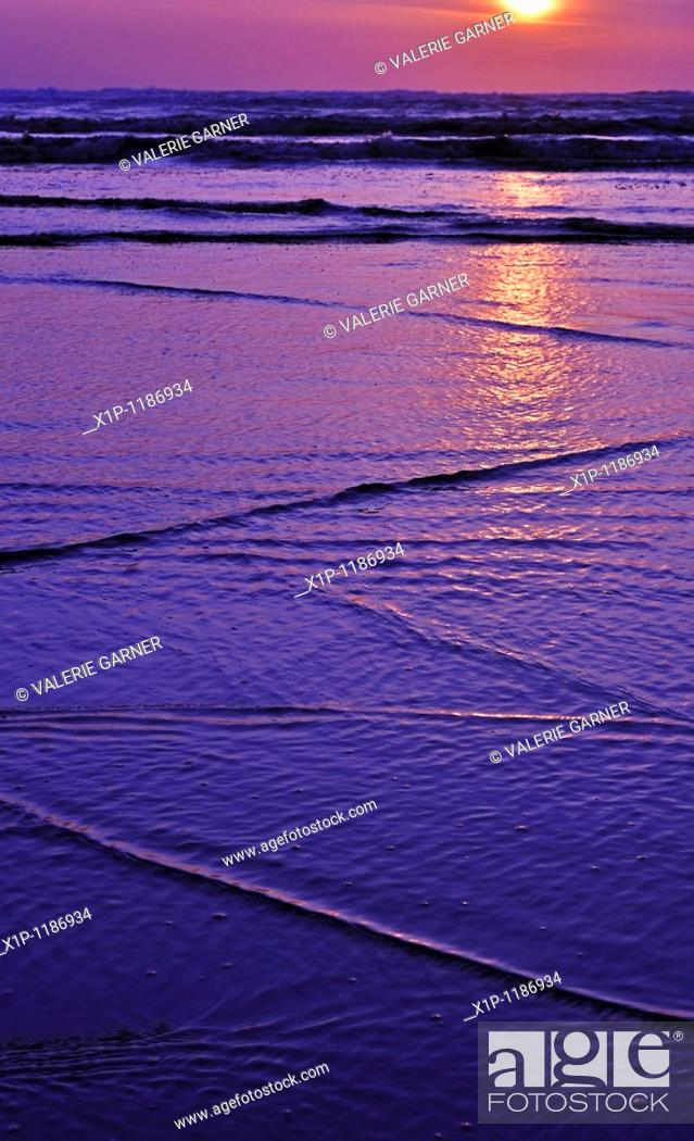 Stock Photo: This gorgeous sunset is taken at the ocean Long Beach Washington with interesting patterns of the waves coming in to shore on the sand in the vertical image of.