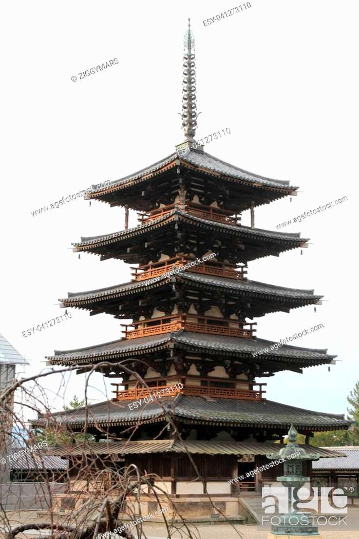 Stock Photo: five-story pagoda of Horyu ji in Nara, Japan.