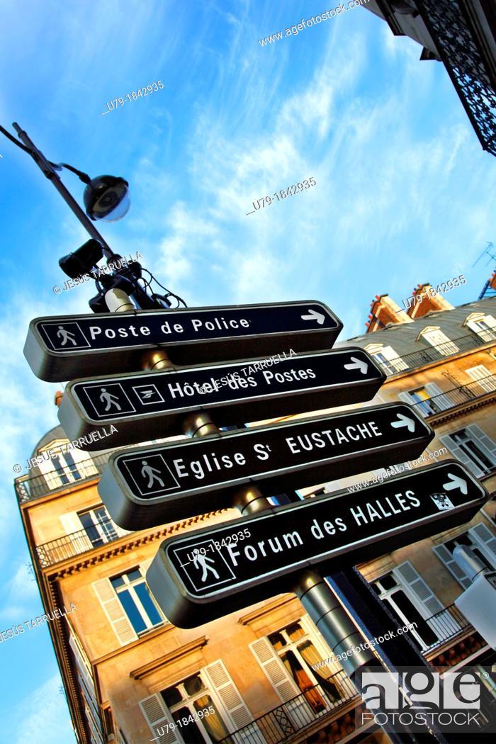 Stock Photo: Pedestrian signage  Paris  France.