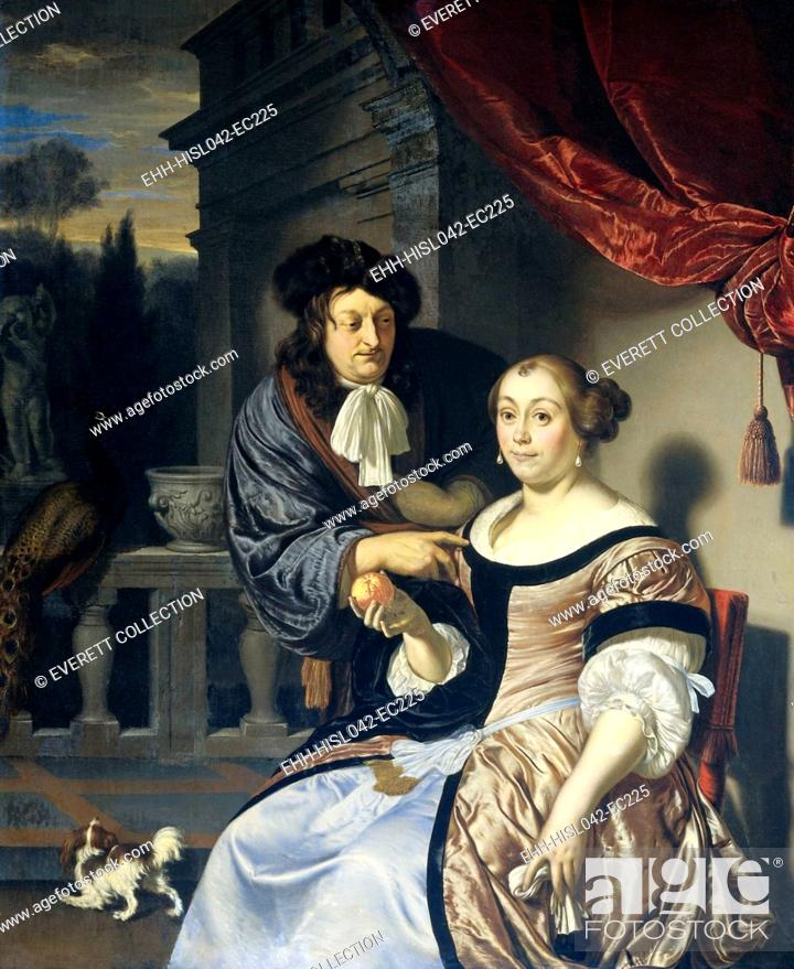 Stock Photo: A Man and a Woman, by Frans van Mieris (I), 1678, Dutch painting, oil on panel. On a terrace man gazes at and gently touches a seated women's shoulder.