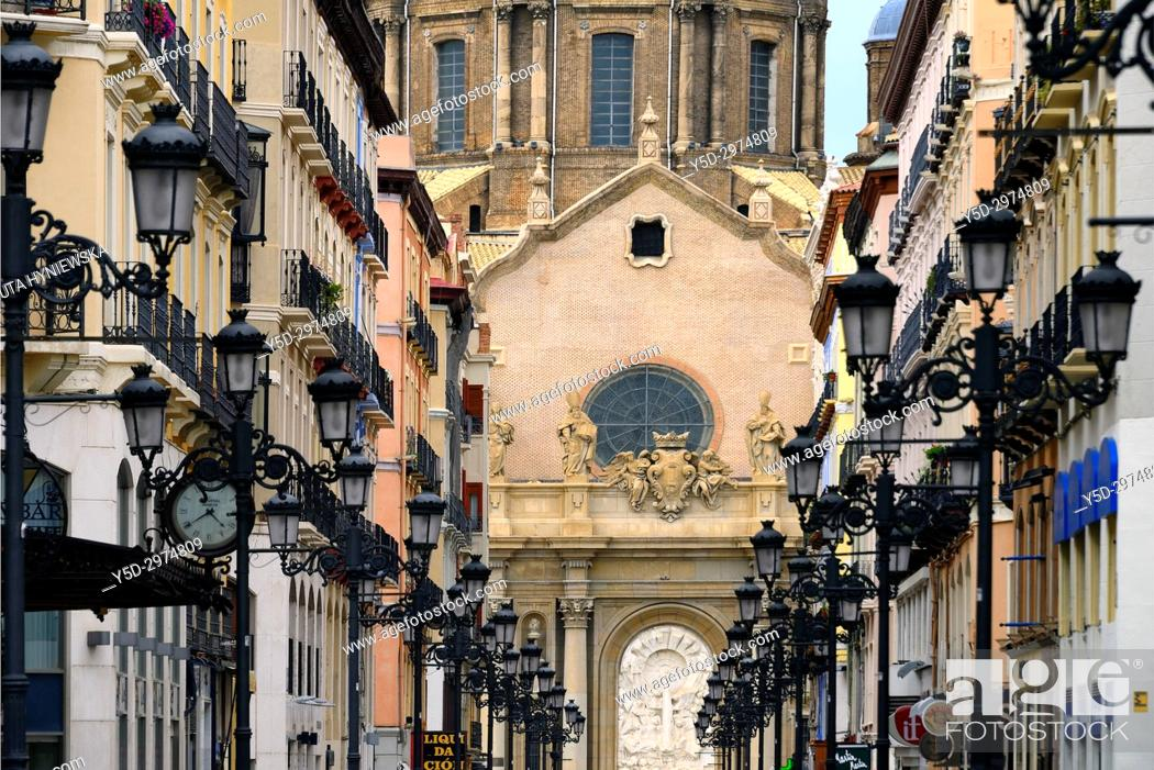 Stock Photo: Catedral-Basílica de Nuestra Señora del Pilar de Zaragoza seen from Calle Alfonso I, historic center of the city, Zaragoza, Saragossa, Aragon, Spain, Europe.