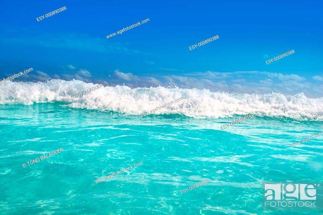 Stock Photo: beautiful blue turquoise wave caribbean sea water foam.