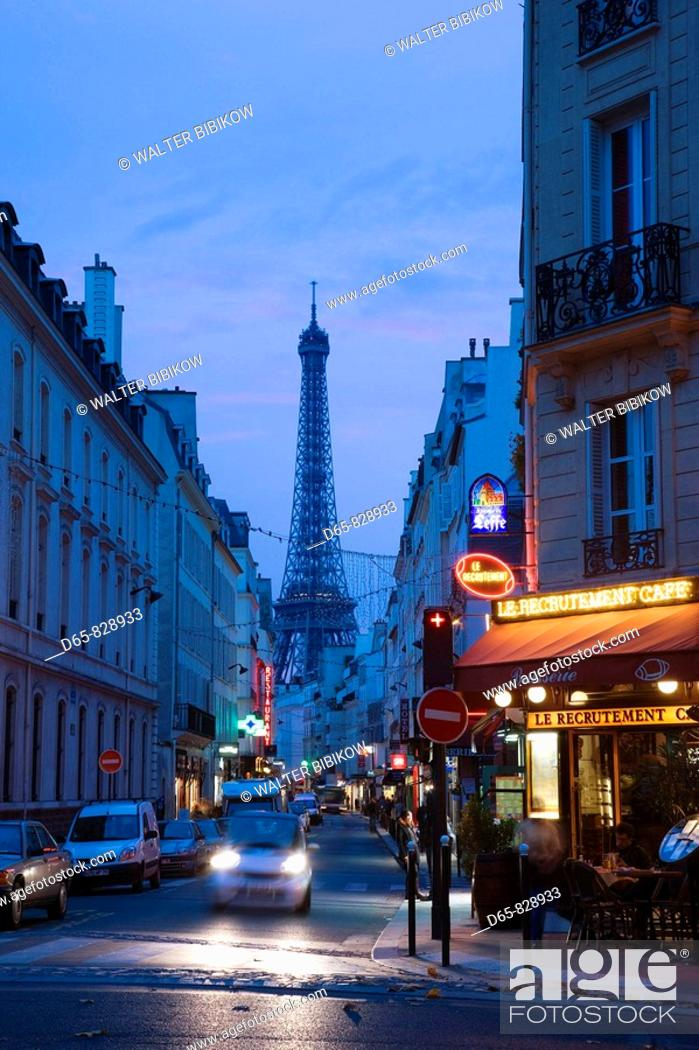 Stock Photo: Eiffel Tower seen from rue Sainte-Dominique in the evening, Paris, France.