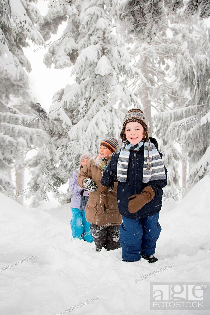 Stock Photo: Children in the snow.