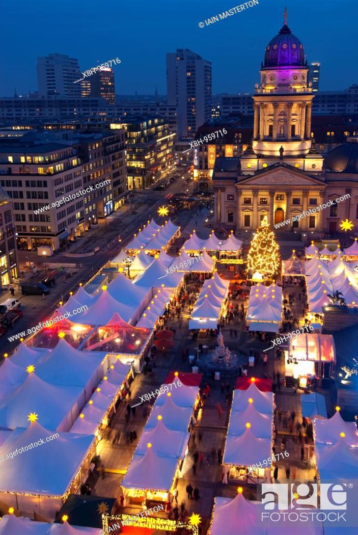 Stock Photo: Christmas Market at Gendarmenmarkt in central Berlin Germany 2009.