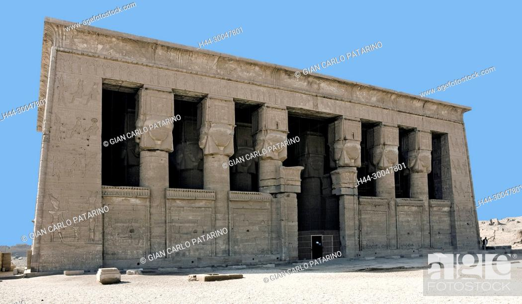 Stock Photo: Dendera Egypt, ptolemaic temple dedicated to the goddess Hathor: main entrance to hypostyle hall.