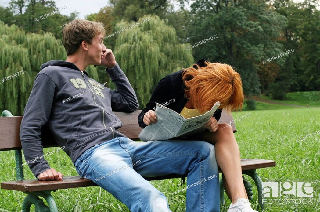 Stock Photo: Couple bench.
