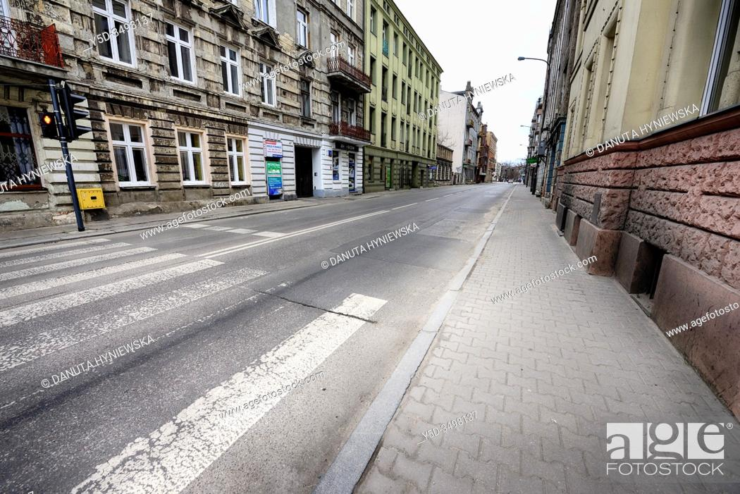 Stock Photo: Europe, Poland, Lodz, March 2020, empty streets of city center during the coronavirus pandemic.