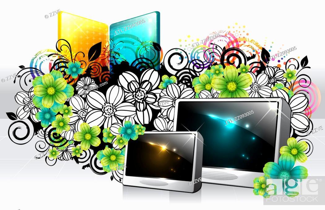 Stock Photo: Digital frame with flora design.