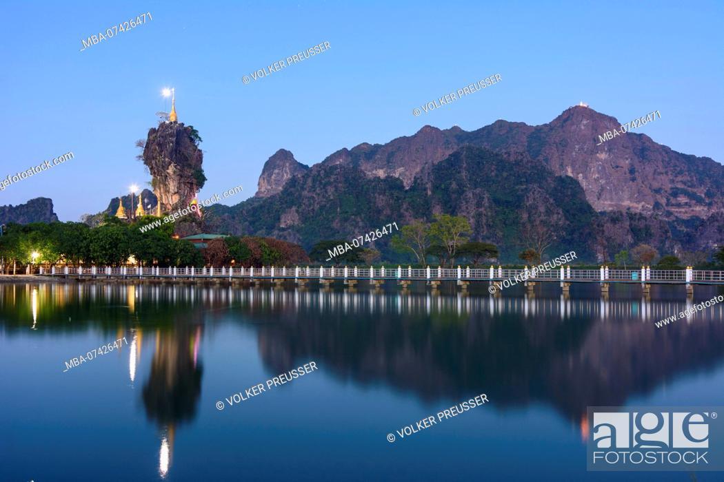 Stock Photo: Hpa-An, Kyauk Kalap Buddhist monastery, pagoda, lake, mountain mount Mt Zwegabin, Kayin (Karen) State, Myanmar (Burma).
