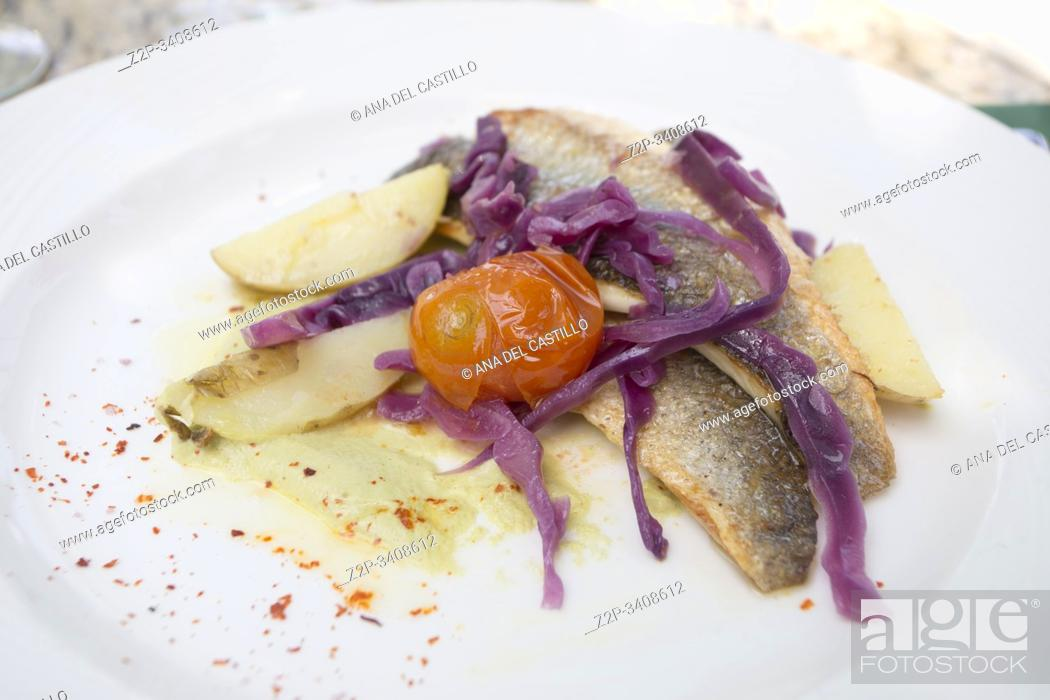 Stock Photo: Fillet of fish with tomato cherry potato and cabbage for starter.