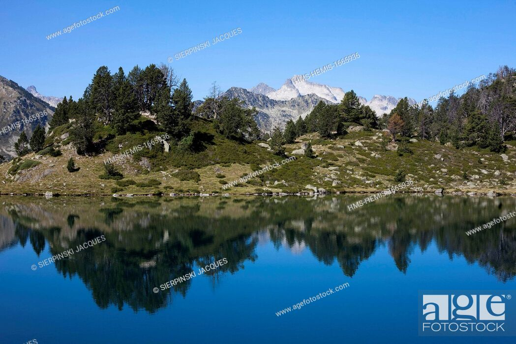 Stock Photo: France, Hautes Pyrenees, Neouvielle Nature Reserve, reflection of Neouvielle peak in the lake of Bastan.