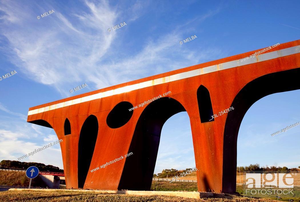 Stock Photo: Carlos Ciriza sculpture. Puente la Reina - Gares. Navarre.Spain.