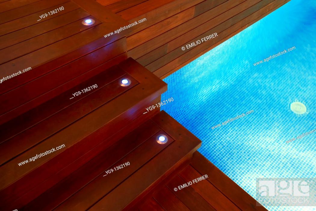 Stock Photo: Stairs on an interior pool  LLeida  Spain.