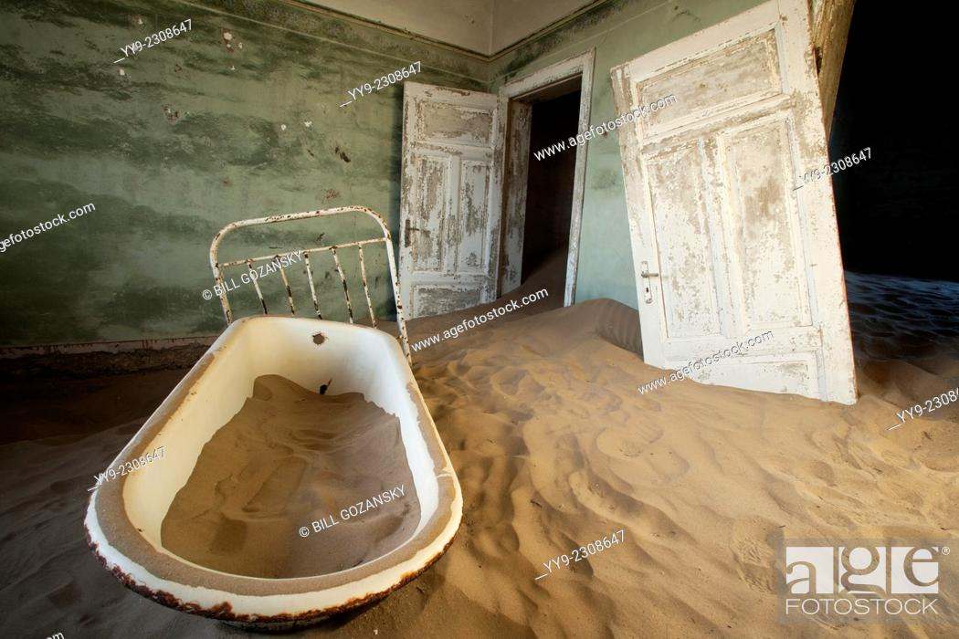 Stock Photo: Bathtub in Kolmanskop Ghost Town - Luderitz, Namibia, Africa.