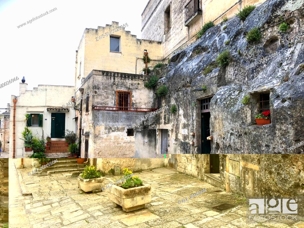 Stock Photo: Exterior to an abandoned house in cave dwellings of Sassi di Matera in Sasso Barisano, Unesco World Heritage Site, Matera, Italy, Europe.
