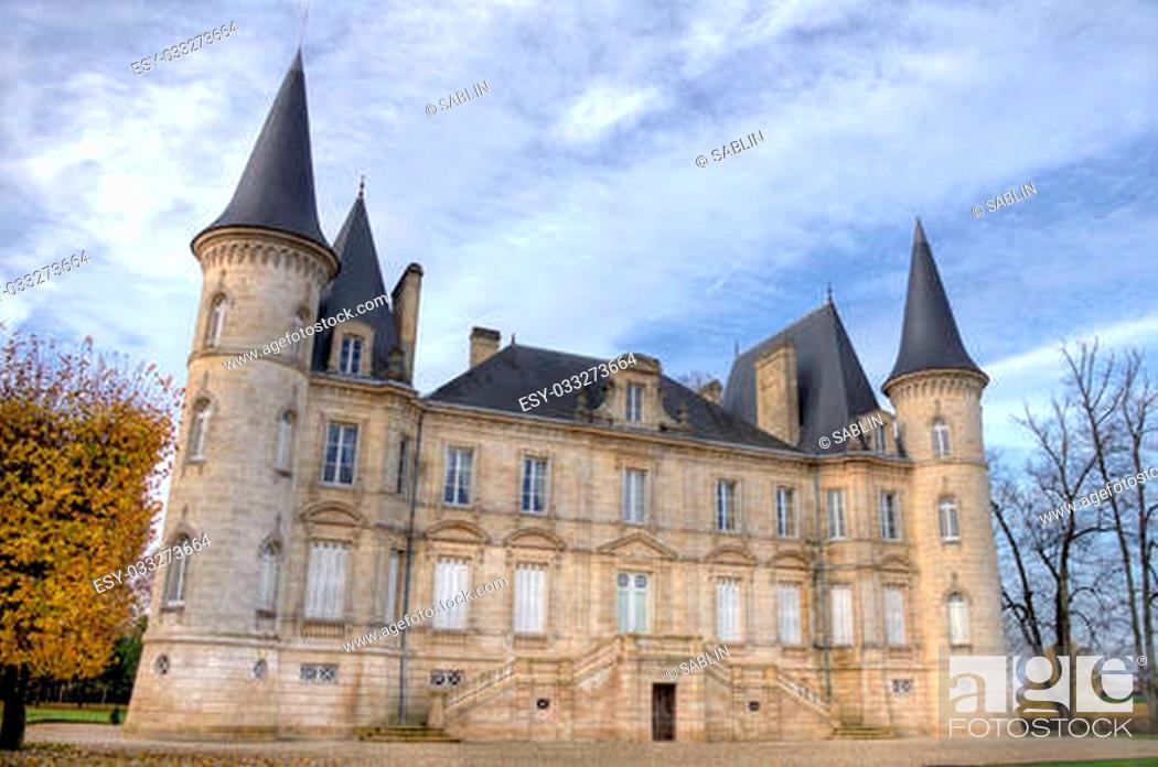 """Stock Photo: Chateau pichon longueville"""""""" is a famous wine castle built in 1851 by Raoul de Pichon Longueville."""