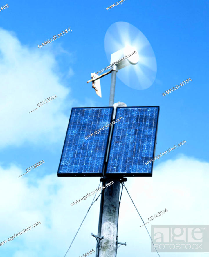 Stock Photo: Solar panel and small wind turbine for rural phone box, Scotland.