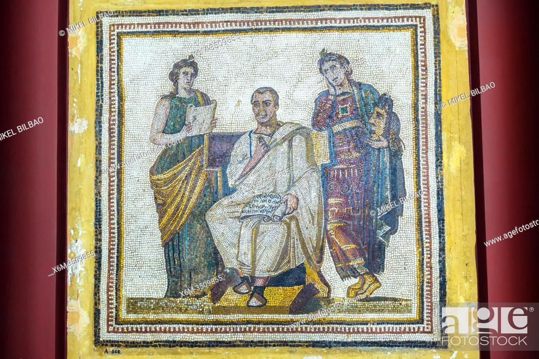 Imagen: Virgil with Muses Clio and Melpomene on a roman mosaic. Bardo National Museum. Tunis city. Tunisia, Africa.