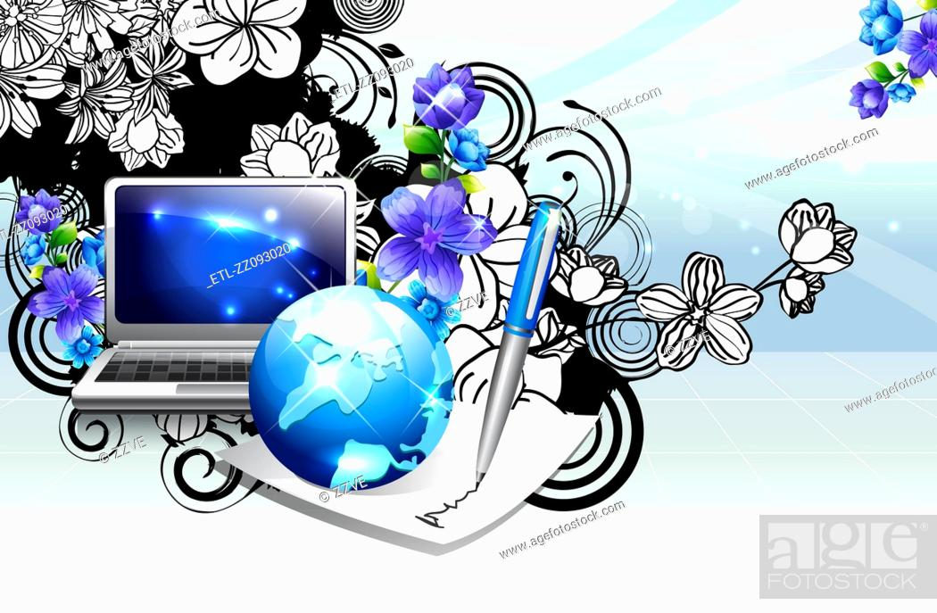 Stock Photo: Laptop and globe with flora design.