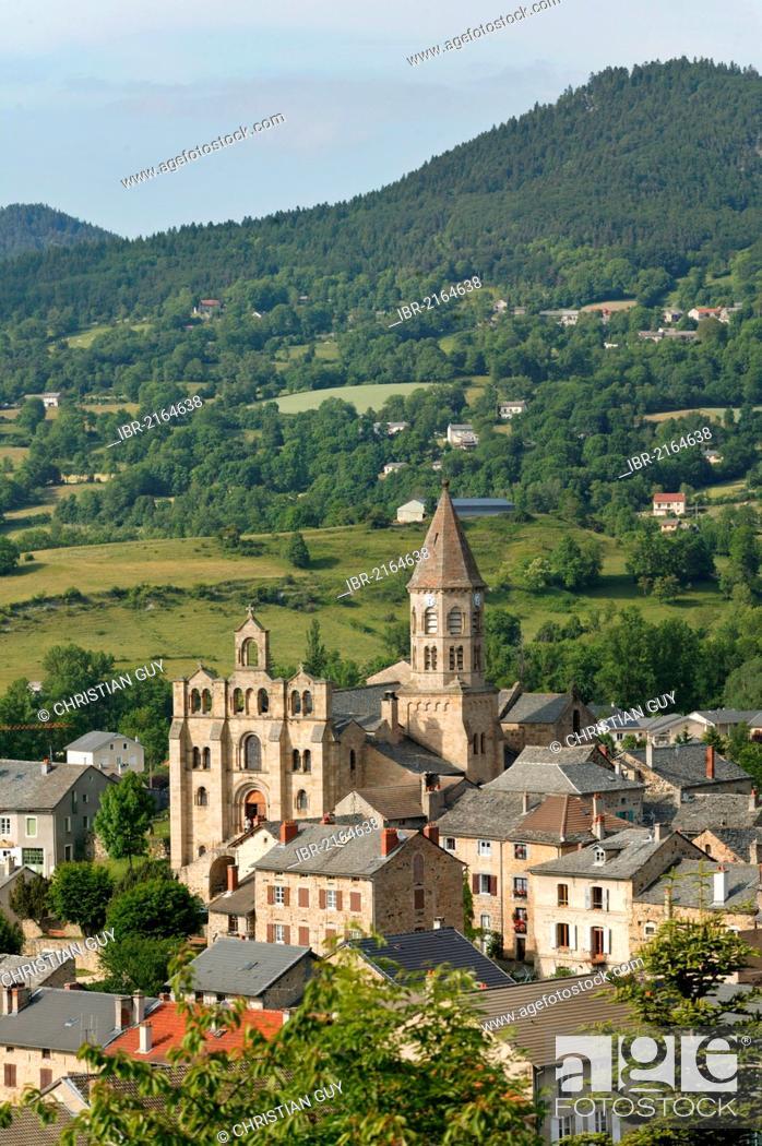 Stock Photo: Romanesque church of St Julien Chapteuil, near Le Puy en Velay, Haute Loire, Auvergne, France, Europe.
