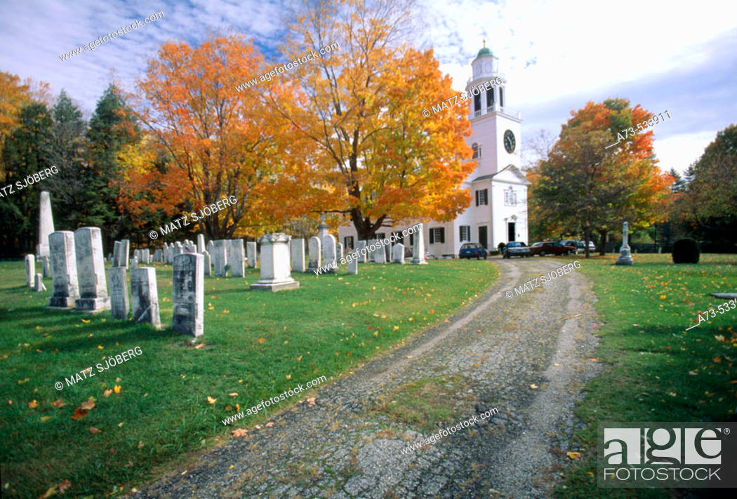 Stock Photo: The Church of the Hill and the Cemetery. Lenox. Massachusetts (Berkshire). USA.