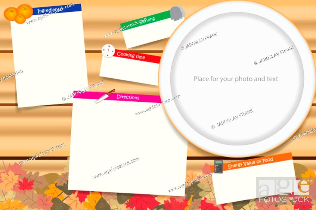 Stock Photo: Traditional cooking board vector ready for your text. Cooking board is in the autumn leaves design.