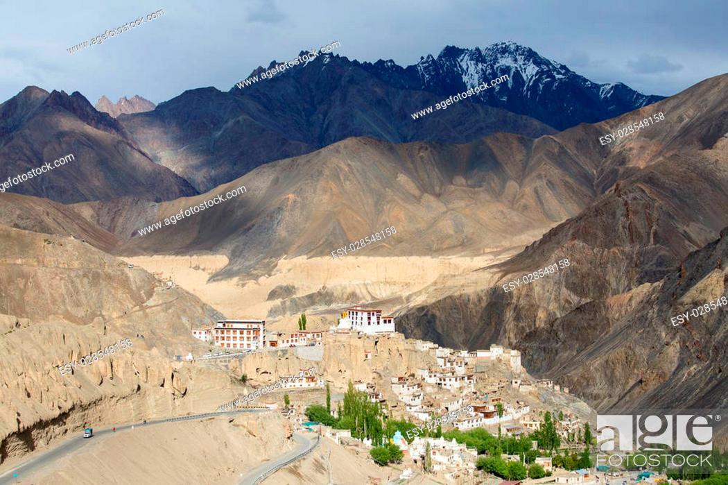 Stock Photo: Lamayuru Gompa is a Tibetan Buddhist monastery and Himalayan mountains. Ladakh, India.