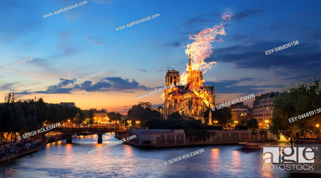 Stock Photo: Fire at the Notre Dame Cathedral. Paris, France. Digital composite.