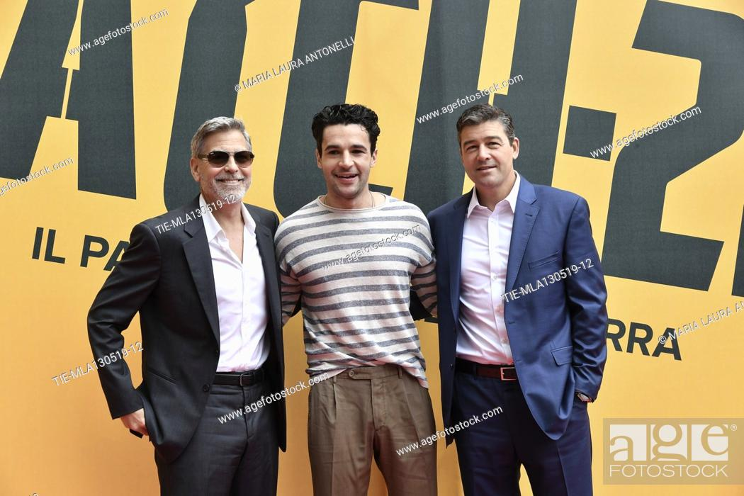Stock Photo: George Clooney, Christopher Abbott, Kyle Chandler during the photocall of fillm tv Catch-22, Rome, ITALY-13-05-2019.