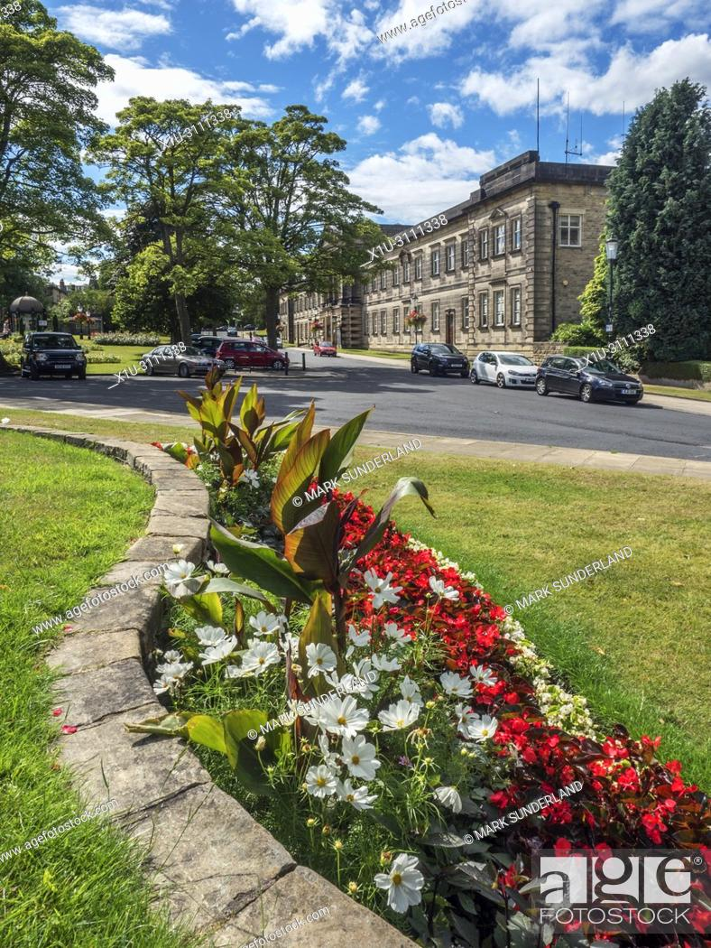 Stock Photo: Crescent Gardens and former Council Offices in Harrogate North Yorkshire England.