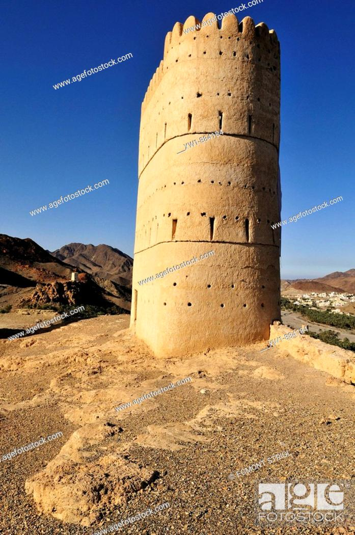 Stock Photo: historic watchtower above Franja oasis and Wadi Samail, Batinah Region, Sultanate of Oman, Arabia, Middle East.