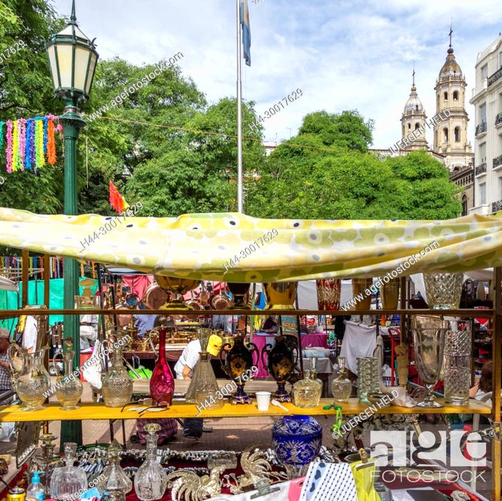 Stock Photo: Argentina, Buenos Aires, San Telmo, Plaza Dorrego, The Sunday Flea Market.