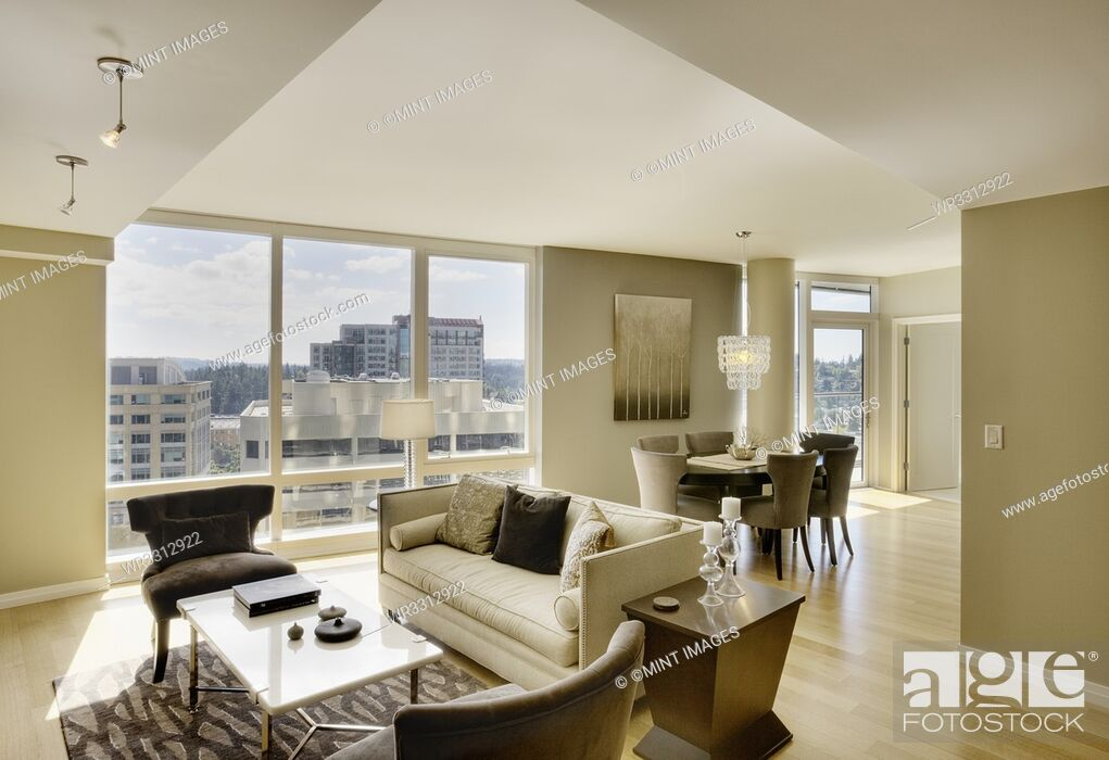 Stock Photo: Sun shining through windows of open floor plan in luxury highrise apartment.