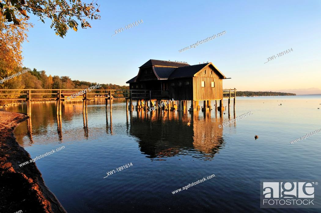 Stock Photo: wooden boathouse on the shore of Lake Ammer, Stegen, Ammersee, Upper Bavaria, Germany, Europe.