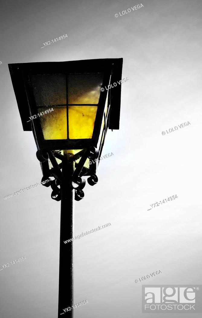 Stock Photo: Old lantern in rural restaurant.
