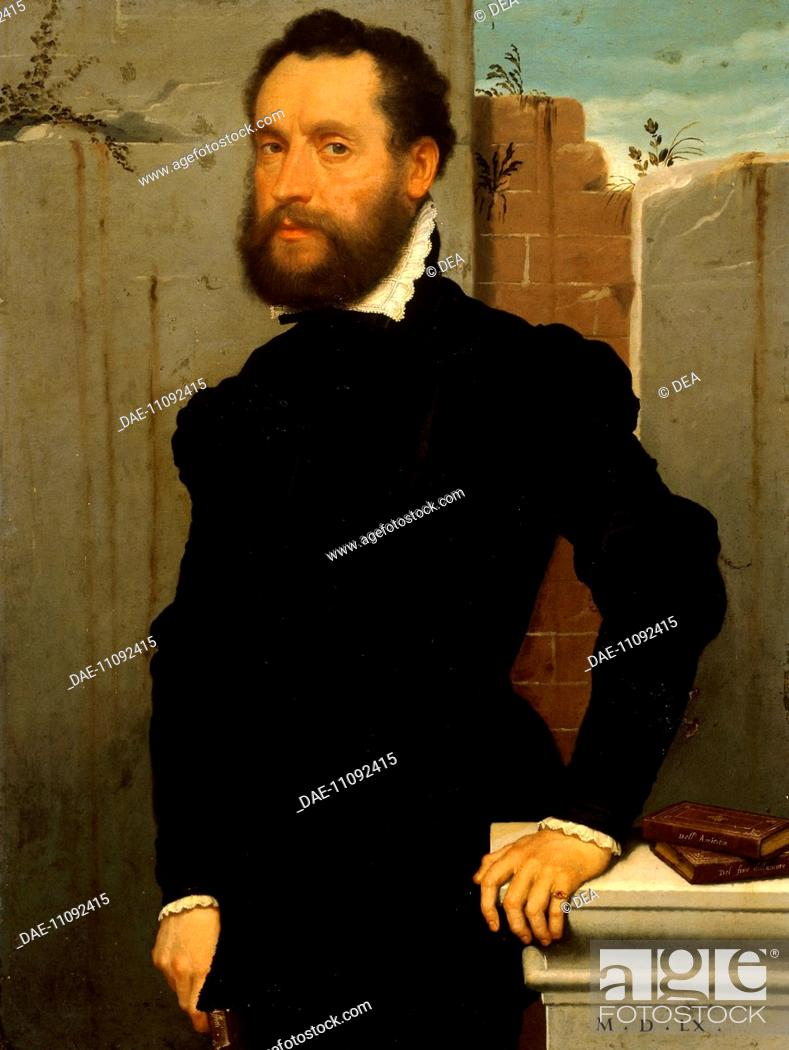 Stock Photo: Portrait of a Gentleman, by Giovanni Battista Moroni (ca 1525-1578), oil on canvas, 106x80 cm.  Brescia, Pinacoteca Tosio-Martinengo (Art Gallery).