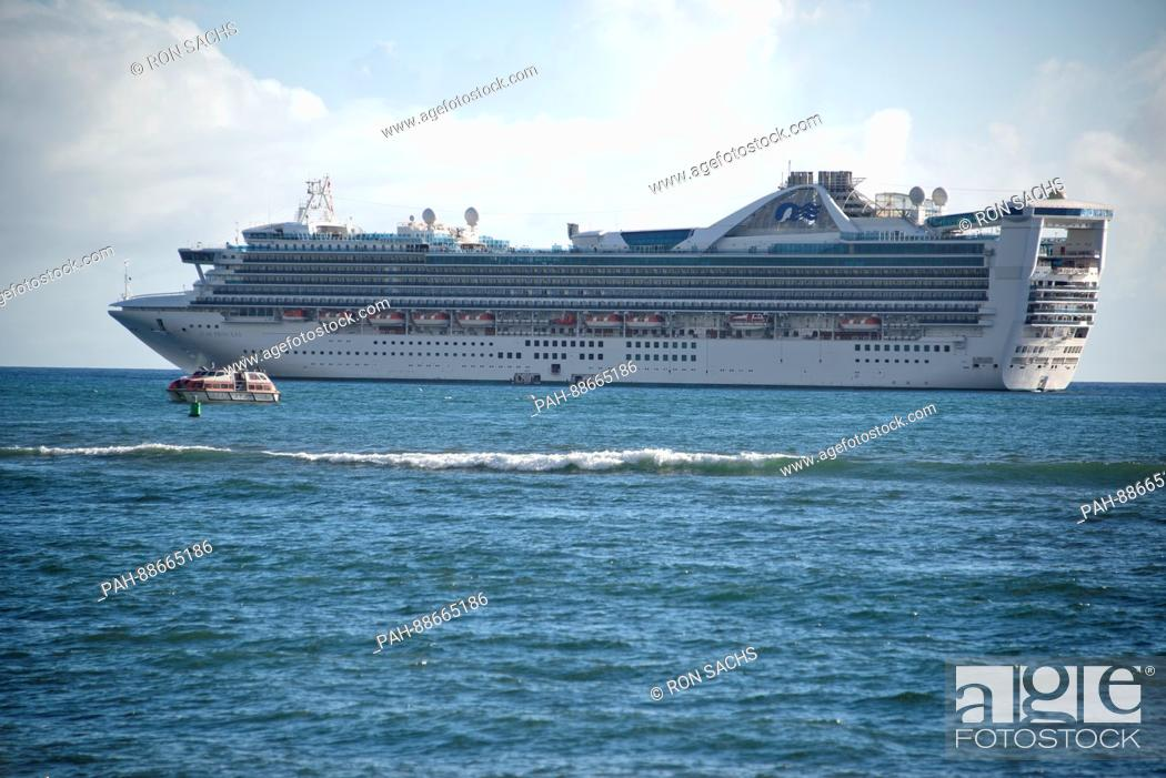 Stock Photo: The Star Princess in the harbor of Lahaina, Maui, Hawaii on Thursday, March 2, 2017. Star Princess is a Grand-class cruise ship, operated by Princess Cruises.