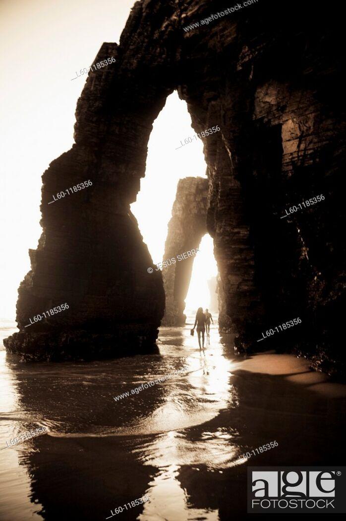 Stock Photo: Playa de las Catedrales, Ribadeo, Galicia, Spain.