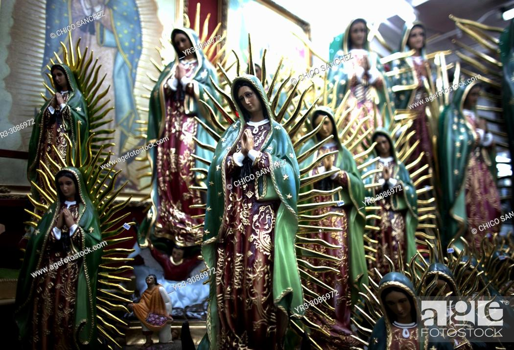 Stock Photo: Statues of the Our Lady of Guadalupe outside the Our Lady of Guadalupe Basilica in Mexico City. Hundreds of thousands of Mexican pilgrims converged on the.