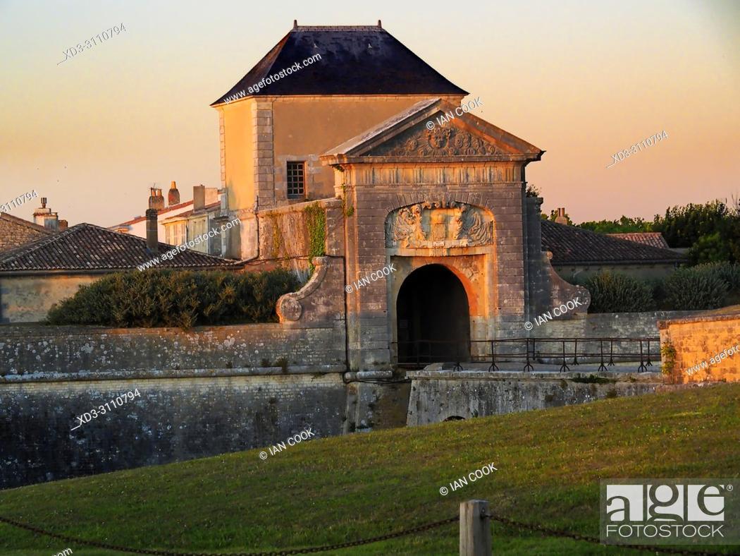 Stock Photo: Porte des Campani, Saint-Martin-de-Re, Ile de Re, Charente-Maritime Department, Nouvelle Aquitaine, France.