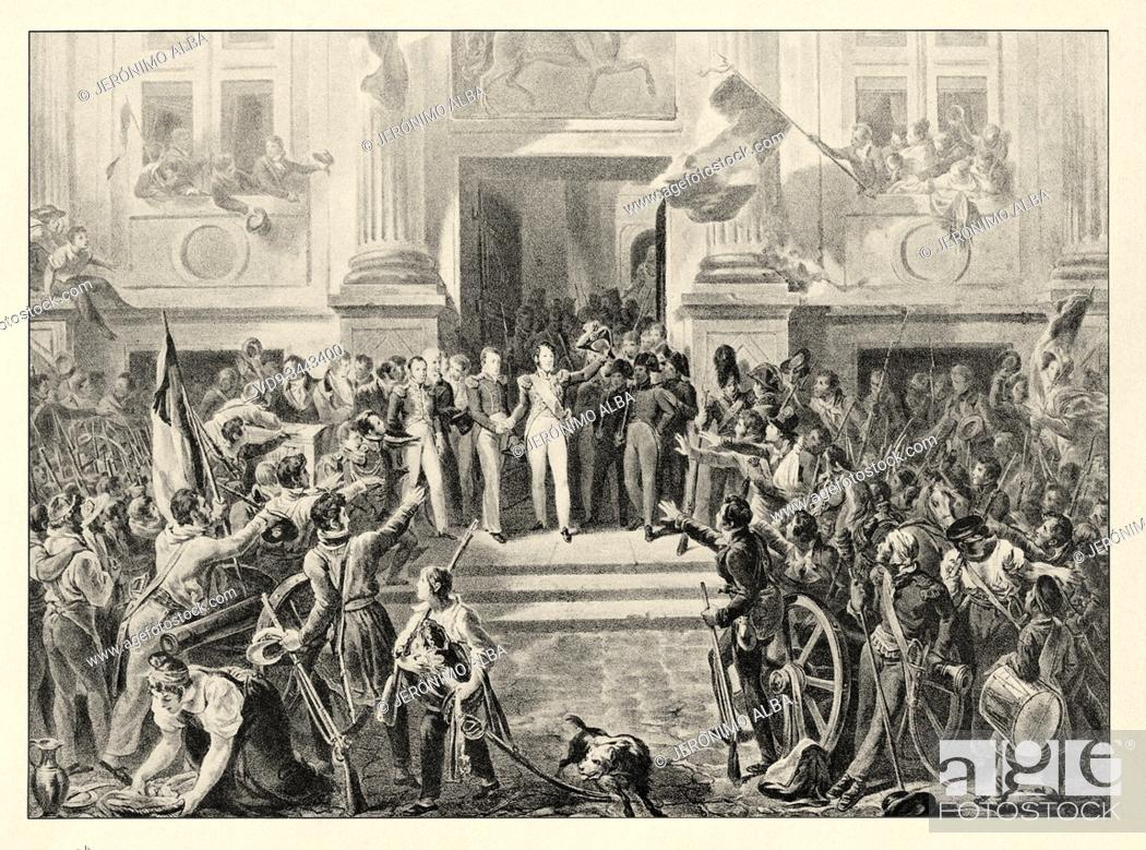 Imagen: Louis Philippe d'Orléans proclaimed Lieutenant General of the Kingdom. History of France, old engraved illustration image from the book Histoire contemporaine.