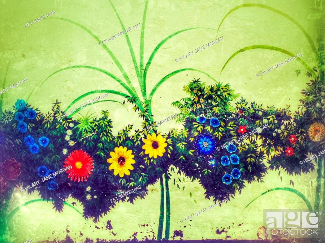 Stock Photo: Painted mural of flowers on wall.