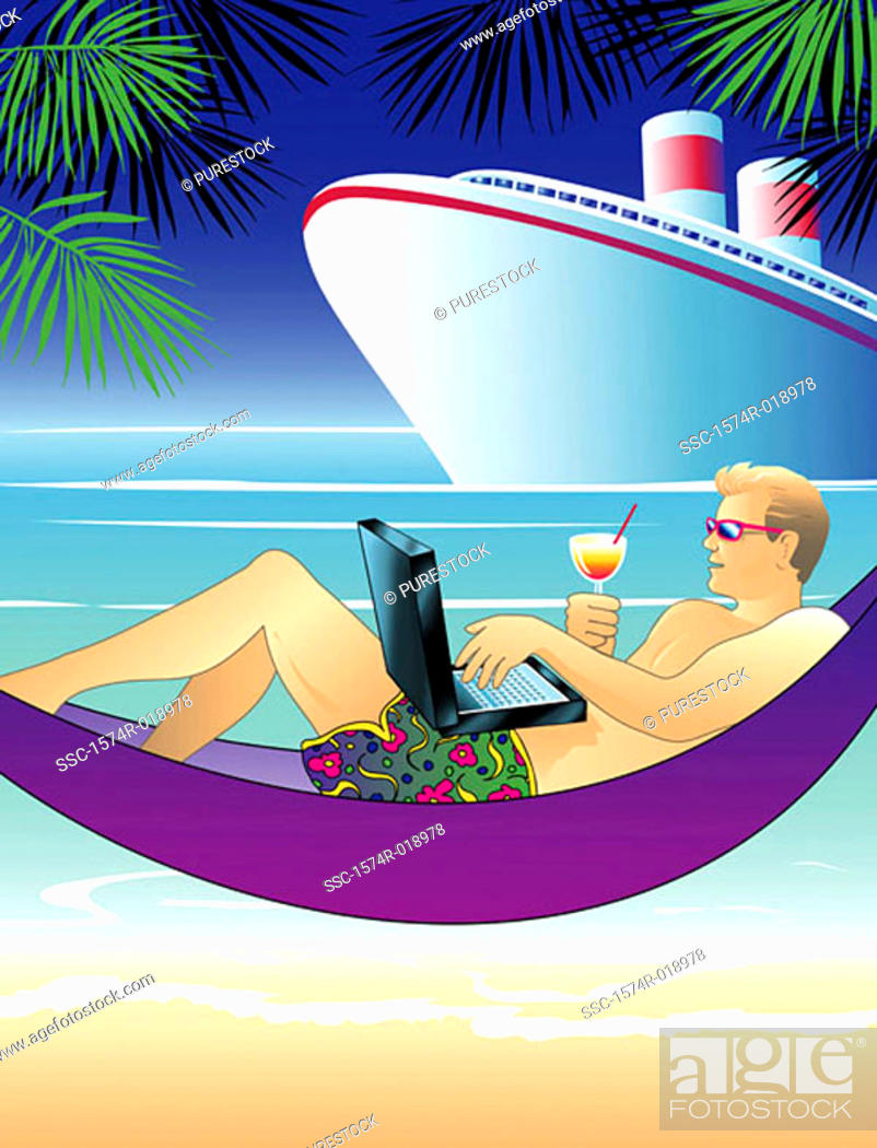 Stock Photo: Tropical Laptop Linda Braucht (20th C. American) Computer graphics.