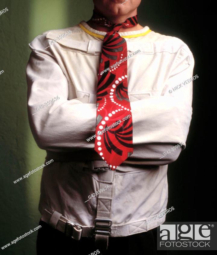 Stock Photo: Man in straightjacket.