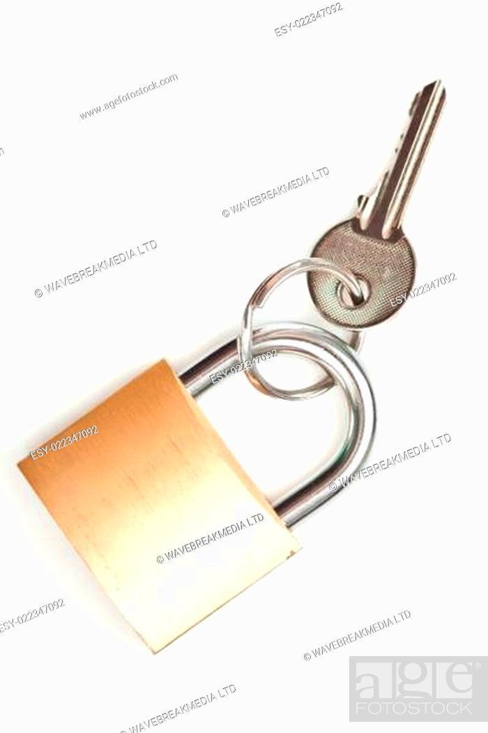 Photo de stock: Key at lock against white background.