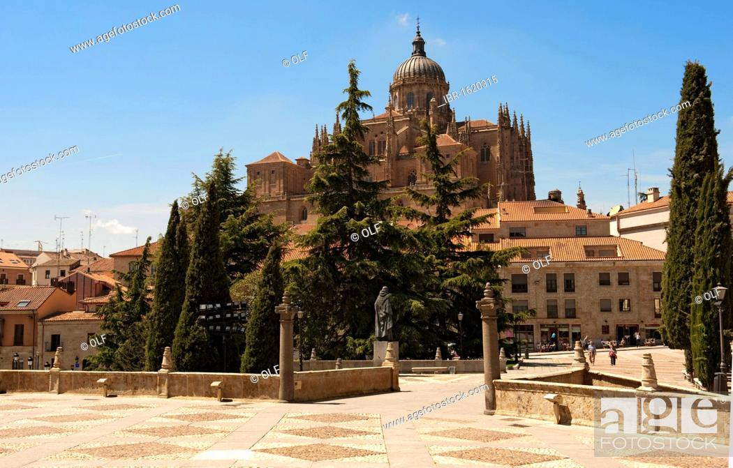 Stock Photo: New Cathedral, Catedral Nueva, components of Gothic, Renaissance and Baroque, as seen from the terrace in front of the Convento de San Esteban, Salamanca.