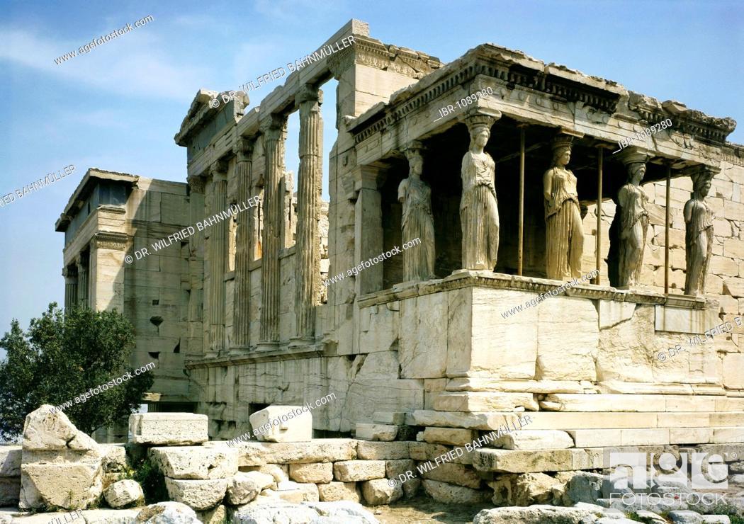 Stock Photo: Erechtheon and The Porch of the Caryatids, Acropolis, Athens, Greece, Europe.